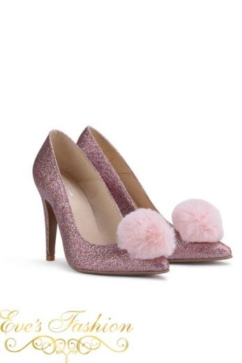 Fashion Chic Heels Glitter Pink Front