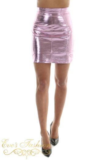 RUNAWAY Byron Mini Skirt Metallic Berry Close Front