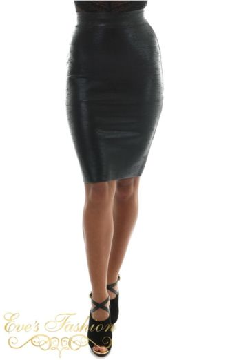 Eve Exclusive Charity Metalic Bandage Skirt Black Front