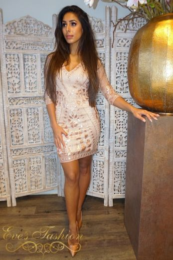 Bella Sequin Dress Rose