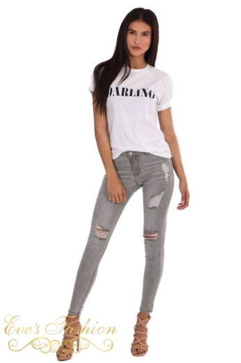 LA Sisters Ripped High Waist Jeans Grey Front