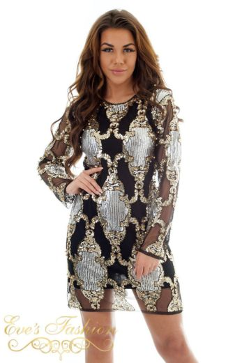 Eve Exclusive Laurelle Sequin Dress Black/Gold Close