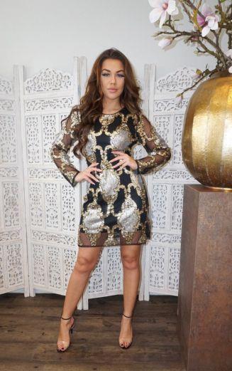Laurelle Sequin Dress Black/Gold