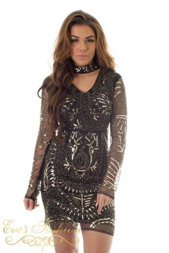 Eve Exclusive Faye Sequin Choker Dress Black/Gold Close