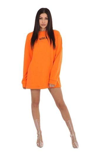 LA Sisters Girls Sweater Dress Orange front