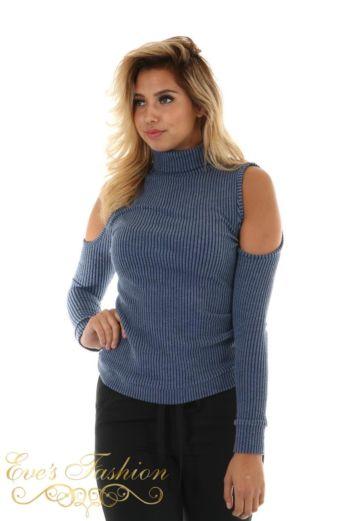Jacky Luxury Sweater Open Shoulder Blue Close