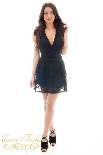 jacky Luxury  Lace Flower Skirt Black Front