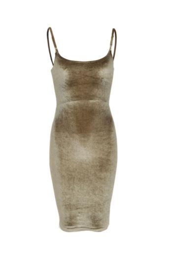 LA Sisters - Velvet Strap Dress Army