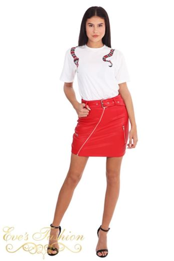 LA Sisters Leather Belted Mini Skirt Red