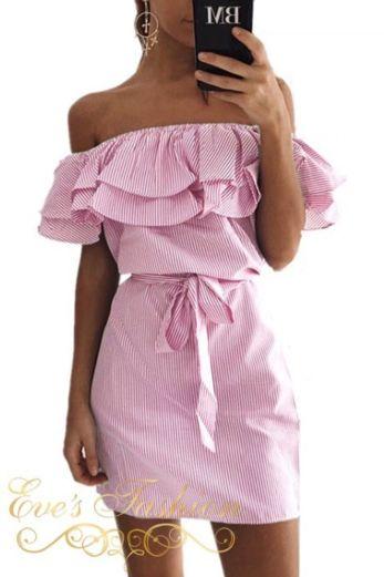 Offshoulder Striped Dress Pink