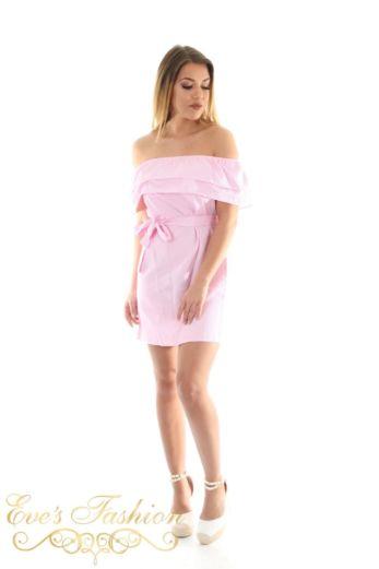 Offshoulder Striped Dress Pink Front