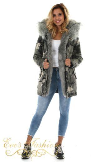 Eve Parka Faux Fur Camo Grey Front