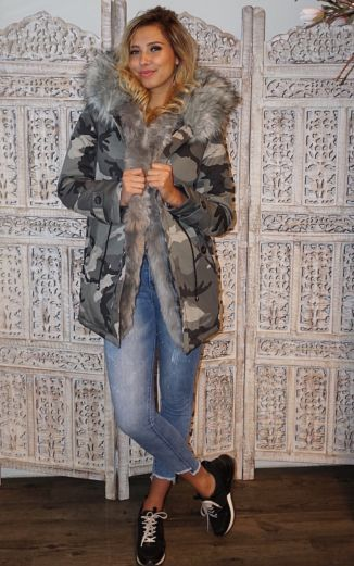 Parka Faux Fur Camo Grey