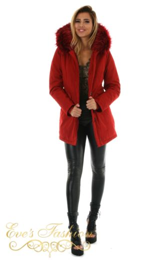 Eve Parka Ruby Red Front