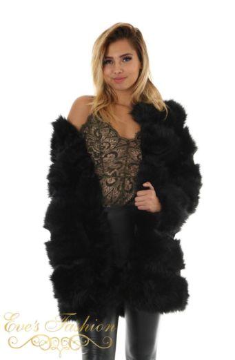 Eve Diva Fur Coat Black Close