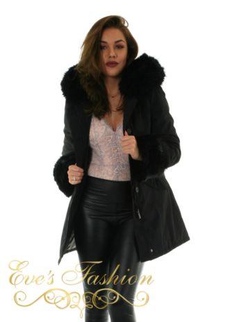 Chic Faux Fur Parka Close Up