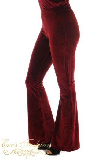 Eve Chelsey Velvet Pants Burgundy Side