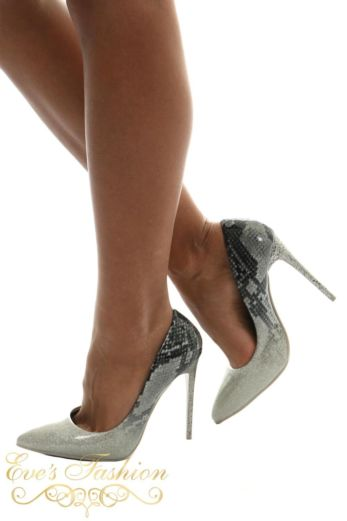 Eve Sparkle Snake Metallic Heels Silver Side
