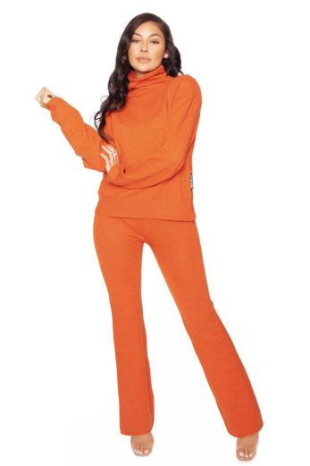 Knitted Wide Leg Two Piece Orange