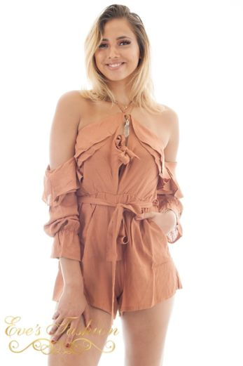 RUNAWAY Sahara Playsuit Rust Close Up
