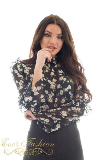 Eve Mia Flower Blouse Black
