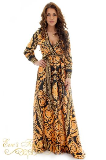 Eve Exclusive Marrakech Satin Dress Gold Long Front