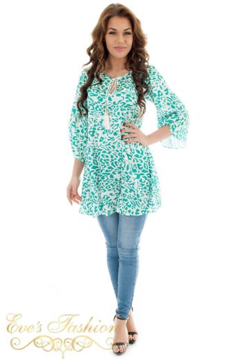 Jacky Luxury Devi Tunic Leopard Green Front Pose
