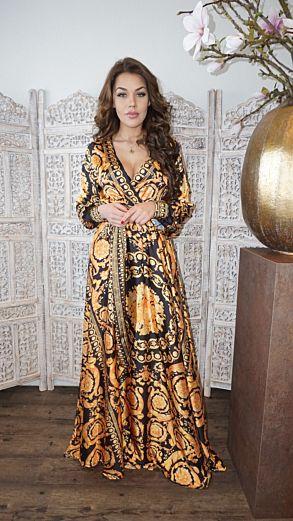 Marrakech Satin Dress Gold Long