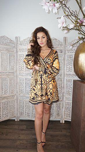 Marrakech Satin Dress Gold Short