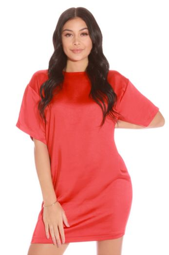 LA Sisters Oversized Satin T-shirt Dress Red Front