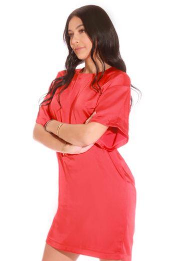 Oversized Satin T-shirt Dress Red