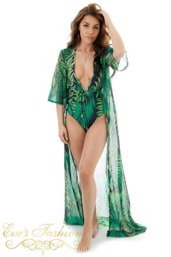 Eve Exclusive Million Kimono Swimsuit Set Jungle Front