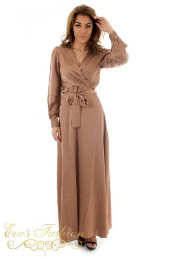 Eve Exclusive Venice Satin Dress Bronze Front Pose