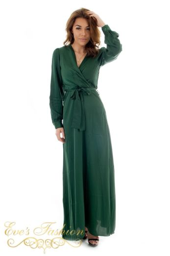 Eve Exclusive Venice Satin Dress Royal Green Front Pose