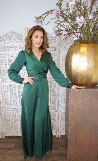 Venice Satin Dress Royal Green