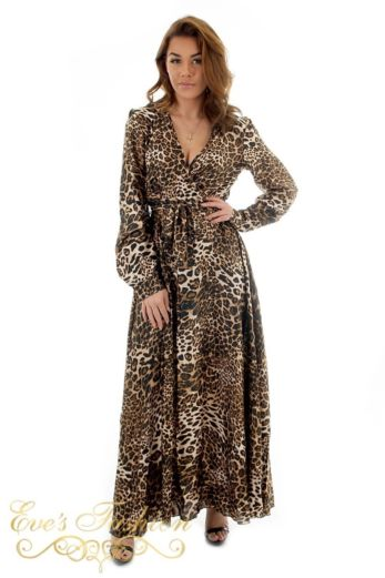 Eve Exclusive - Venice Satin Dres Leopard