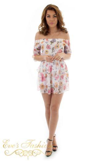 Jacky Luxury Katelyn Flower Skirt White Front