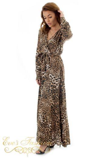 Venice Satin Dres Leopard