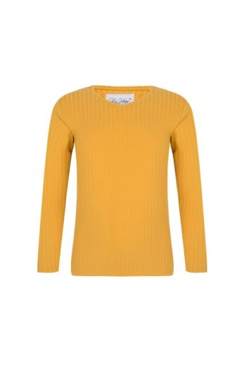 Kids V-Neck Sweater Yellow Front