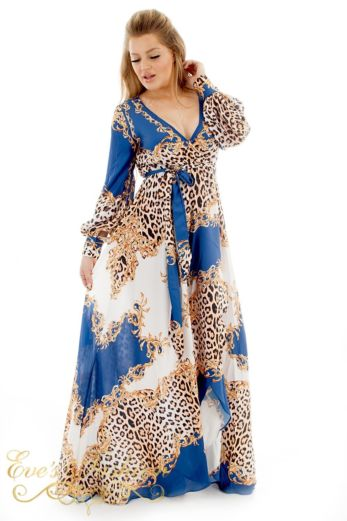 Eve Exclusive Florance Panther Dress Blue Long Front Pose