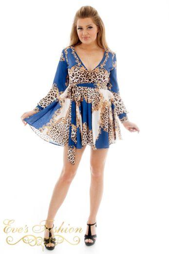 Eve Exclusive Florance Panther Dress Blue Short Front