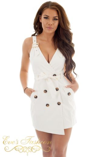 Dora Dress White Close Up Front