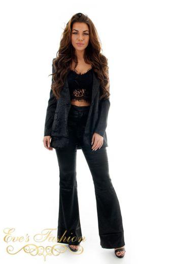 Eve Exclusive Kayla Satin Suit Black Front