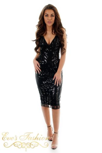 Eve Exclusive Sienna Sequin Dress Black Front