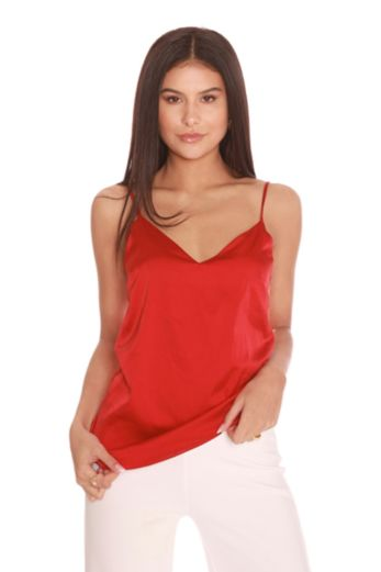 LA Sisters Satin Cami Top Red Front
