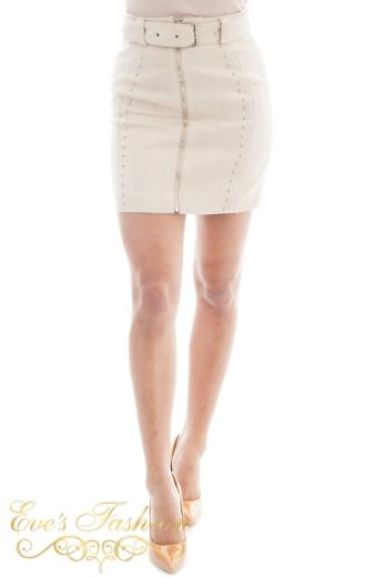 Eve Naomi Belted Skirt Studs Creme Close Front