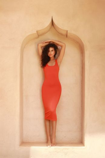 LA Sisters - Basic Scoop Midi Dress Orange