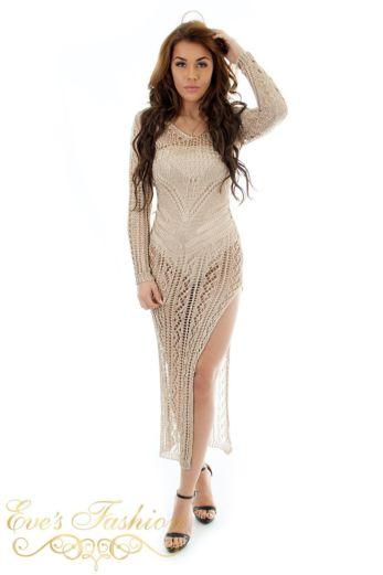 Eve Dubai Metallic Dress Gold Front
