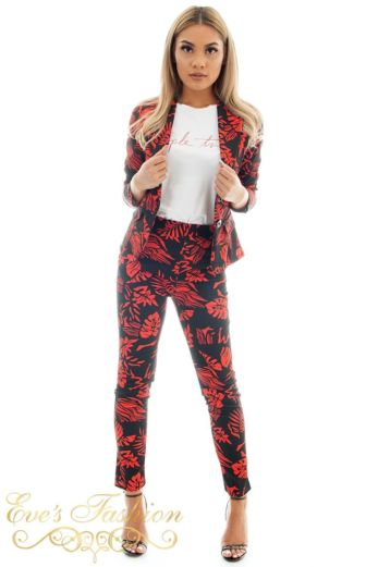 Hawai Flower Suit Red Front