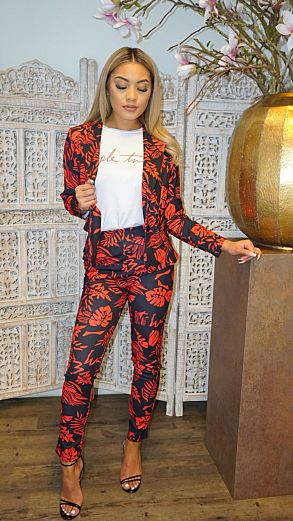 Hawai Flower Suit Red
